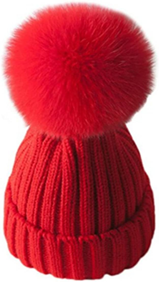Sunriseandmoon Womens Knitted Hats Real Fox Fur Pompoms Ball Warm Caps