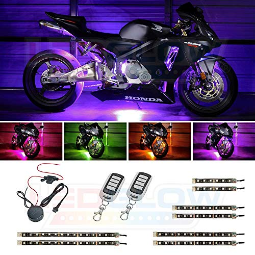 LEDGlow 8pc Advanced Million Color LED Motorcycle Accent Underlow Light Kit - 15 Solid Colors - 6 Patterns - Multi-Color Flexible Strips - Includes Waterproof Control Box & 2 Wireless Remotes