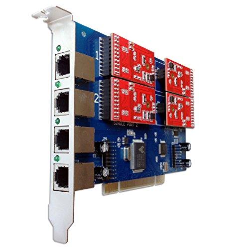 4 Port Analog Card with 4 FXO Ports Supports FreePbx Elastix Trixbox Asterisk PCI Card tdm410 (4 Port Analog Line Card)