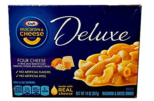 Kraft Macaroni & Cheese Deluxe Dinner, Four Cheese Sauce, 14-Ounce Boxes (Pack of 12)