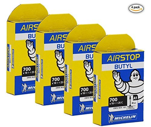 Michelin Airstop Butyl Tube - Michelin Airstop PRESTA Valve 700 x 18-25C 40mm Bicycle Tube - 4 PACK - NEW IN BOX
