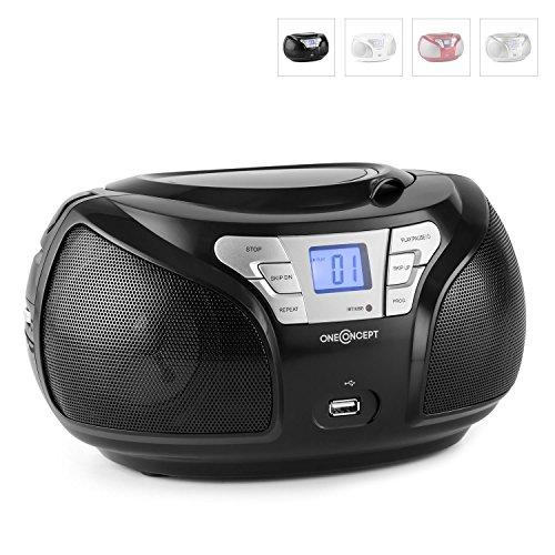 oneConcept Groovie BK mobile Bluetooth Boombox CD Radio mit USB (UKW-Tuner, AUX, MP3-fähiger USB-Slot, CD-Wechsler, Tragegriff, Netz-und Akku-Betrieb) schwarz
