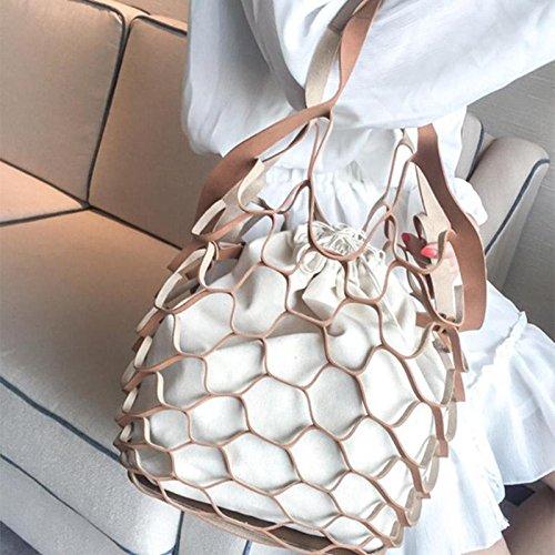 marrón mujer Bolso diseño marrón OneMoreT malla para de hueca lona de UAxq1w