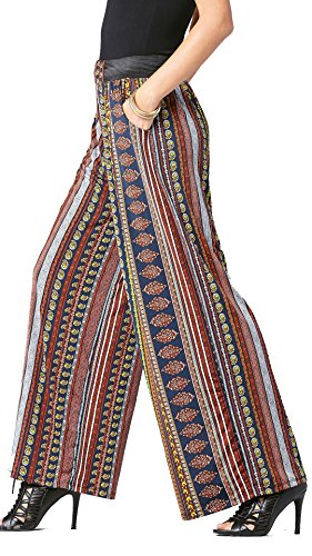 Conceited Premium Women's Palazzo Pants With Pockets - High-Waisted - Solid and Printed Designs by (Navy Multi Abstract)