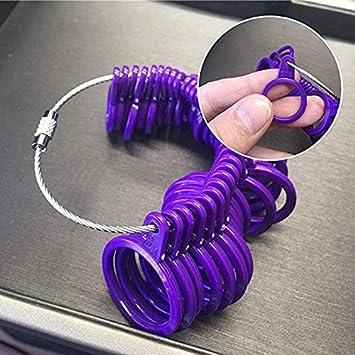 Mesure Taille Bague,Baguier en Plastique Violet Mesure de Taille de Doigt avec Mandrin Outil Calibreur pour Jauge de Doigt pour Hommes et Femmes