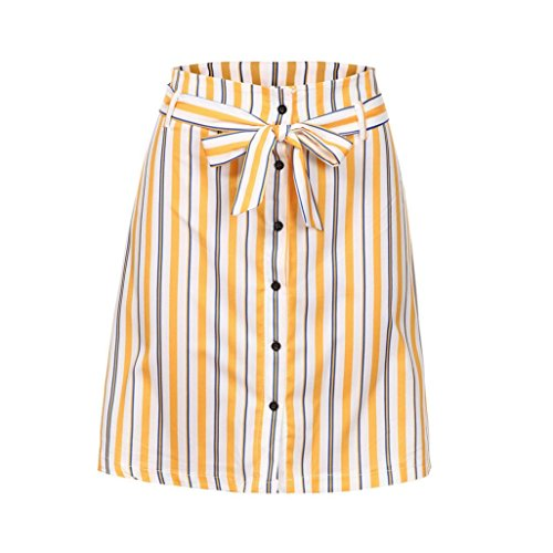 Women Short Mini Skirt,BCDshop Casual Button High Waisted Striped Wrap Skirt for Women Ladies with Belt (Yellow, S)