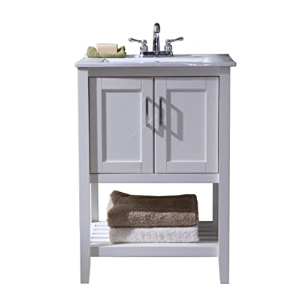 Legion Furniture WLF6020 W 24u0026quot; Single Sink Bathroom Vanity With  Ceramic Sink Top,