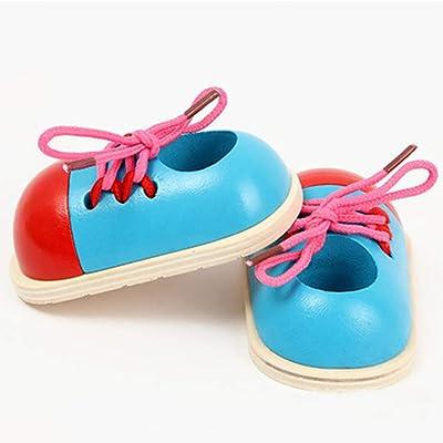 1 En Cordón madera juguete zapatos zapatos madera madera lujo Cordón zapatilla de deporte Learn para atar los cordones, motricidad fina juguete educativo preescolar Threading de juguete para niños