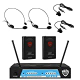 Nady UHF-24 Lapel / Lavalier + Headset Microphone Dual Wireless System with True Diversity - 4 Microphone Bundle (LM-14 + HM-3)