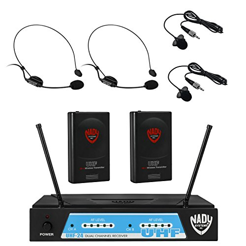 Nady Dual Headset - Nady UHF-24 Lapel/Lavalier + Headset Microphone Dual Wireless System with True Diversity - 4 Microphone Bundle (LM-14 + HM-3)