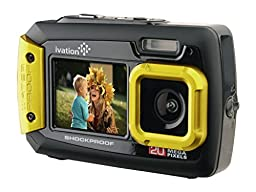 Ivation 20MP Underwater Shockproof Digital Camera & Video Camera w/Dual Full-Color LCD Displays – Fully Waterproof & Submersible Up to 10 Feet (Yellow)
