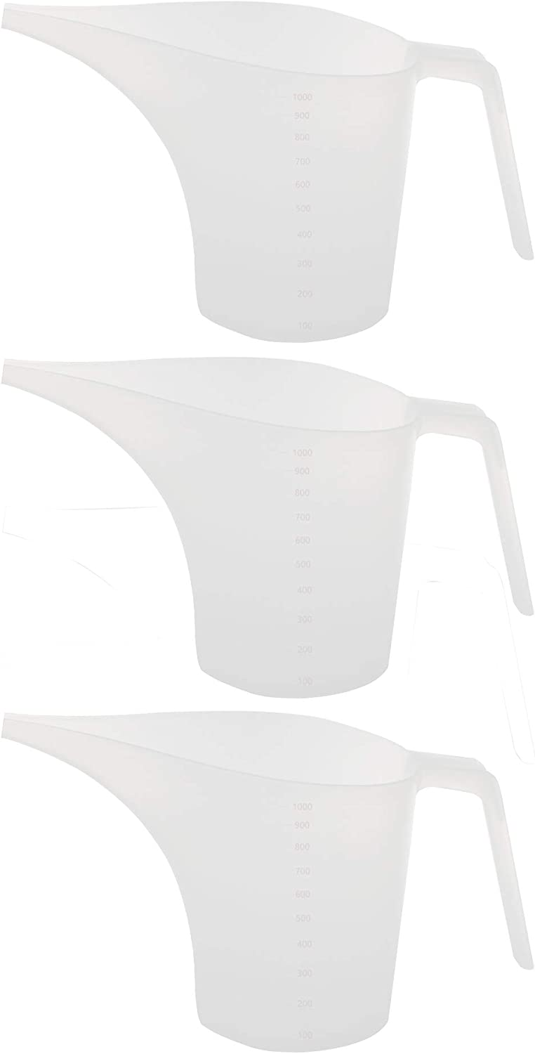 Funnel Pitcher Measure Fill for soap Cakes making, 1 Liter 1000ml 1000cc 34oz 3-pack