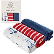 Muslin Swaddle Blankets with Organic Muslin Bamboo, Set of 3, by Upstreet (Multicolor)
