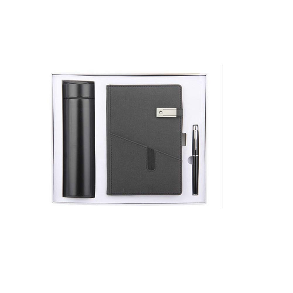 WUZHONGDIAN Notebook Magazine, Exquisite with Insulated Cup Notebook, Pager Gift - for Diary Notes Diary and Plan - Three-Piece Gift Box / 100 Sheets Office Supplies ( Color : Black )