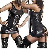 Women Wet Look PVC Leather Black Lace up Fancy Mini Dress