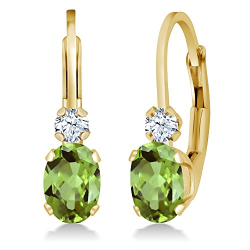 14k White Gold Green Sapphire - 1.08 Ct Oval Green Peridot White Created Sapphire 14K Yellow Gold Earrings