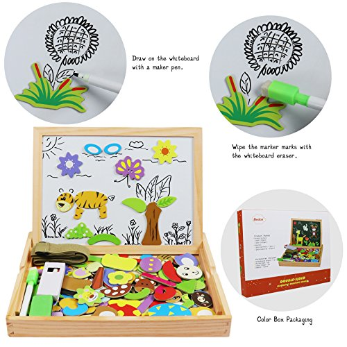 Becko Toddler Magnetic Jigsaw Puzzle Board Wooden Educational Toys for Children, Multifunctional Travel Drawing Board Double Sided with Erase and Black Board, Animal and Plant Puzzles for Boy and Girl