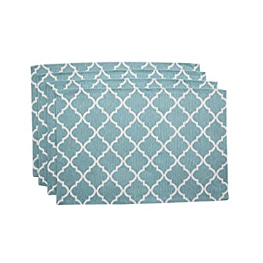 "Living Fashions Washable Woven Placemats (13"" x 19"") Non-slip Table Mats for Kitchen Dining, Set of 4"