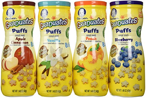Gerber Graduates Puffs Bundle of 4 - Blueberry, Peach, Vanilla, and Apple Cinnamon
