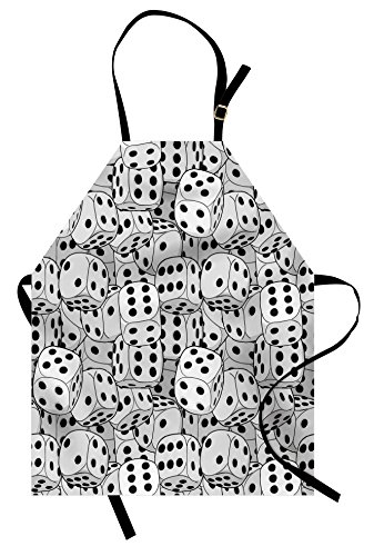 - Lunarable Casino Apron, The Dices Close-up Image Abstract Monochromic Chaotic Crowded Gaming Houses, Unisex Kitchen Bib Apron with Adjustable Neck for Cooking Baking Gardening, Pale Grey Black