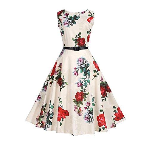 Dresses Big Women XL A Floral Swing Diamondo line Party Summer Print Dress Vintage qwFqYXPO