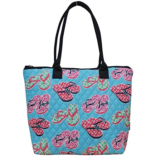 Ngil Quilted Cotton Medium Tote Bag 3 (Flip Flop Navy Blue) ()