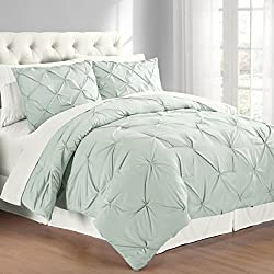 Swift Home Premium Collection 3-piece Pintuck Comforter Set, F/Q, Minsty Blue