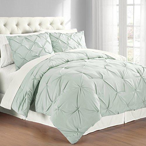 Swift Home 3-Piece Pintuck King Comforter Set, Misty Blue   Bedroom Store