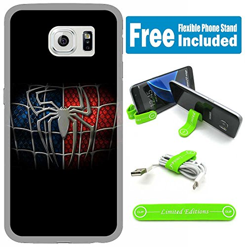 [Ashley Cases] TPU Skin Cover Case for Samsung Galaxy S6 Edge with Flexible Phone Stand - Spiderman Logo Black