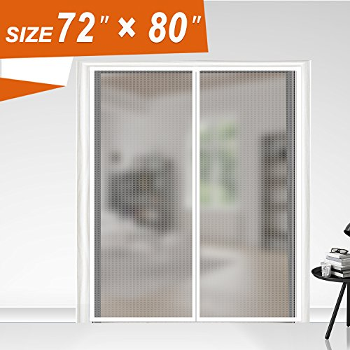 "Magnetic Screen Door 72X80, Thermal and Insulation EVA Wide Mega Mesh 72 X 80 Fit Doors Frame Size Up to 70""W X 79""H Max with Full Frame Hook & Loop Magnet French Door Curtain(72x80 Inch, Transparent)"