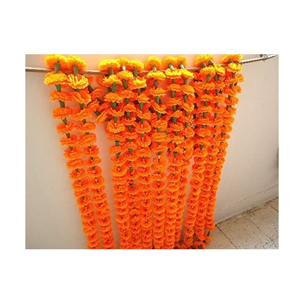 Craffair Orange Artificial tagetes Flower Marigold Strings for Wedding Decorations or Party Decoration, Indian Event décor, Home Decor, Beach Party Decor