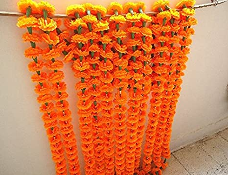 Craffair Orange Artificial Tagetes Flower Marigold Strings For Wedding Decorations Or Party Decoration Indian Event Decor Home Decor Beach Party