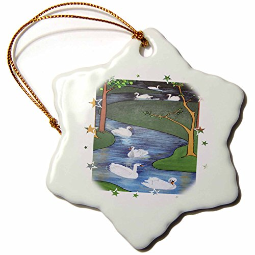 3dRose orn_46935_1 Seven Swans A-Swimming-Animal, Religious Symbolism, Twelve Days of Christmas, Christmas-Snowflake Ornament, Porcelain, 3-Inch ()