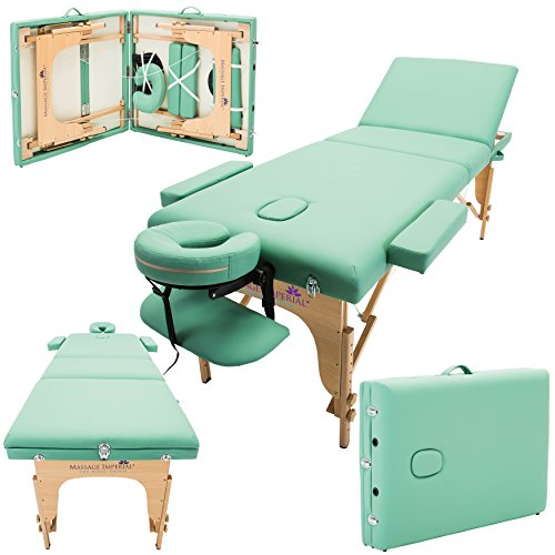 Massage Imperial® Deluxe Lightweight Light Green 3-Section Portable Massage Table Couch Bed Reiki