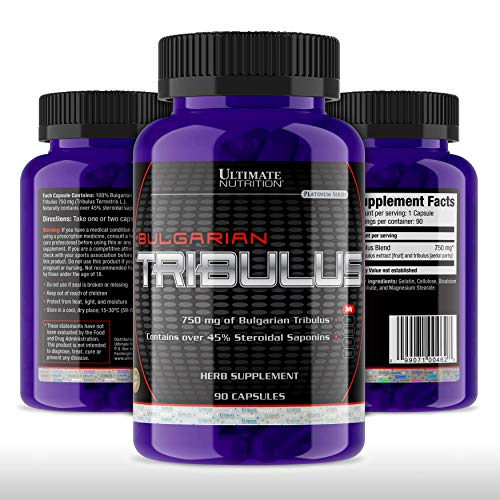 (Ultimate Nutrition Tribulus Terrestris Testosterone Booster and Estrogen Blocker – Ultra Potent 45% Steroidal Saponins – Natural Endurance, Strength, and Stamina Booster, 750mg, 90 Capsules)