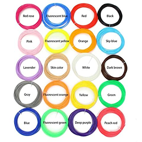 ELEGIANT 3D Pen Filament Refills - 1.75mm Smoothest ABS 330 Linear Feet - 16 Different Colors and 4 Glow in Dark Colors - Environmentally Friendly, Universal Compatibility, Refills for True - 16 Linear Feet
