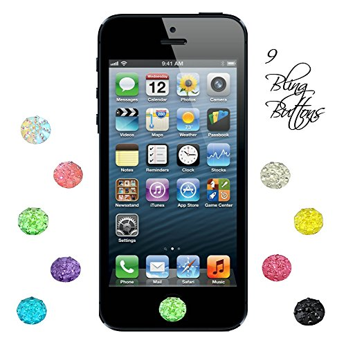 9 Rhinestone Bling Crystal Diamante home button stickers fits Apple ipad air iphone 6 5/5s 4/4s 3g 3gs ipod touch 4 Plus free LOVE Custom Monogram stylus pen