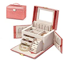 Vlando Mirrored Jewelry Box Organizers for Girls Women Teens Vintage Gift Case - Faux Leather (Croco Pink)
