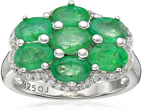 Genuine Emerald and White Zircon .925 Sterling Silver Ring, Size 7