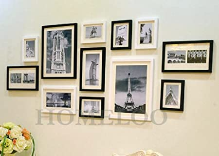 Wooden Photo Picture Wall Frame Collage Set of 12 Modern (Black ...