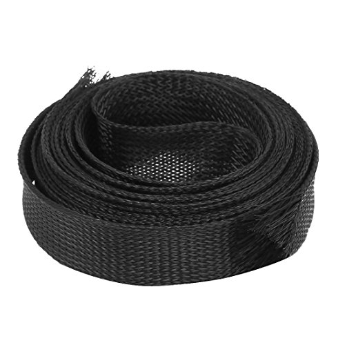uxcell Nylon Mesh Rigging Conduit Flex Braided Expandable Sleeving 4M Long 22mm Wide Black