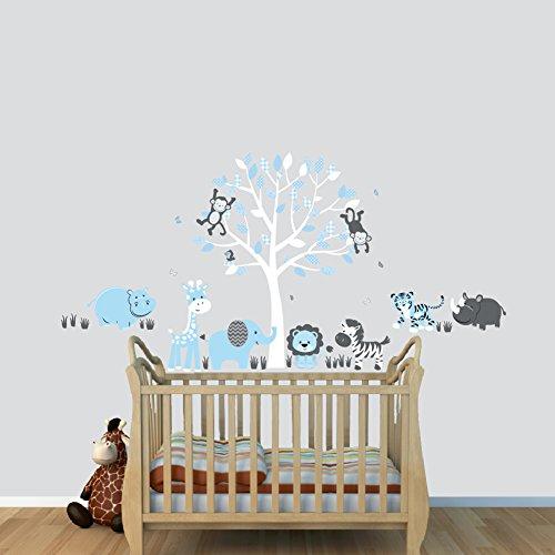 Mural Mini Wall (Boys Animal Decal, Hippo, Tiger, Rhino Wall Stickers, Baby Blue)