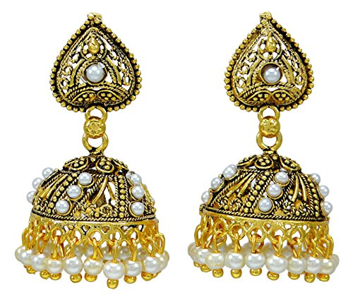 Banithani Indian Traditional Goldtone Jhumka Earring Set Bollywood Wedding Jewelry from Banithani