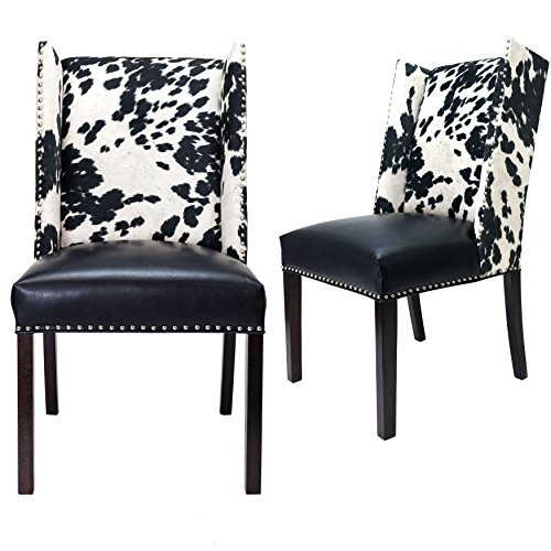 (Sole Designs Rexford Faux Cowhide Leather and Fabric Upholstered Dining Side Chair, Nailhead Trim, Set of 2 Chairs, Black/white)