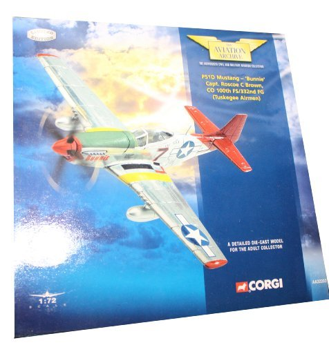 Models Corgi Aircraft (Corgi - The Aviation Archive - P51D Mustang - 'Bunnie' Captain Roscoe C Brown, CO 100th FS / 332nd FG (Tuskegee Airmen) Die Cast Model 1:72 scale AA32203)