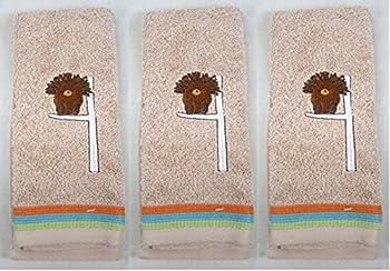 Set of 3 Forest Friends Hedgehog Fingertip Hand Towels