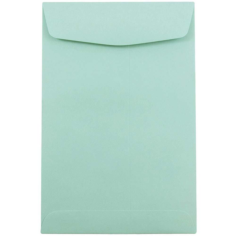 JAM Paper Open End Catalog Envelopes - 6'' x 9'' - Aqua Blue - 100/pack