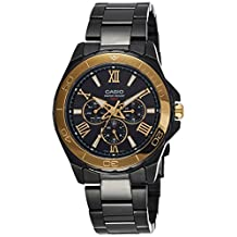 Casio MTD-1075BK-1A9 Men's BLACK Stainless Steel Dress Watch 100M 3-Dials