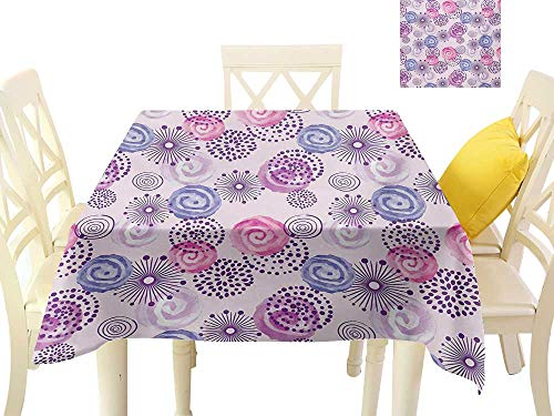 Angoueleven Square Table Cover Purple,Watercolor Style Floral Fireworks Blooming Flowers Abstract Spiral Doodle Spots Art,Blue Pink BBQ Tablecloth W 70