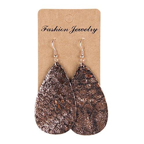 YOUTH UNION Boho Genuine Leather Petal Leaf Teardrop Earrings Dangle Pierced Earrings Jewelry (Petal Brown)
